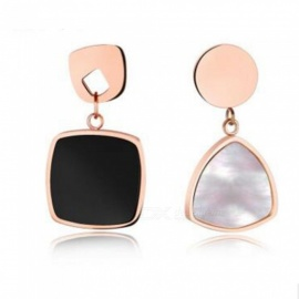 JEDX Black and White Classic Geometric Asymmetrical Earrings