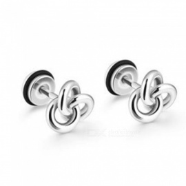 JEDX Simple Retro Style Titanium Steel Earrings Ear Studs for Men, Women - Silver