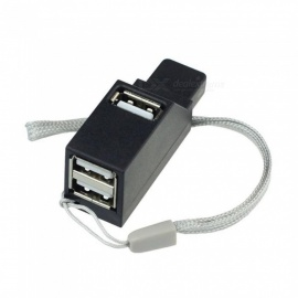 3 Port Portable Data Cable Connector Adapters Mini High Speed USB 2.0 HUB Adapter - Black