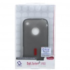Rubber Gel Silicone Backside Case with Screen Guard + Pouch + Stand for iPhone 3G/3GS - Grey