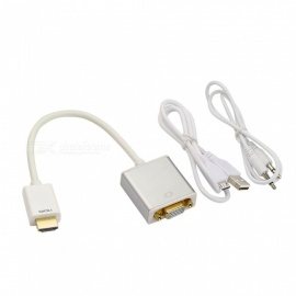 Kitbon HDMI to VGA Converter Adapter with Audio + Charger Cable - Silver + White