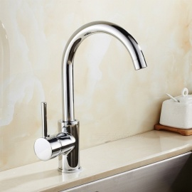 Brass 360 Chrome Degree Rotatable Ceramic Valve Single Handle One-Hole Kitchen Faucet