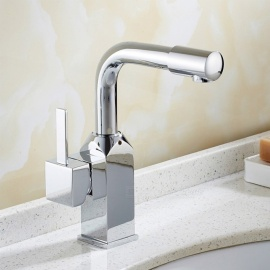 Brass 360 Chrome Degree Rotatable Ceramic Valve Single Handle One-Hole Bathroom Sink Faucet
