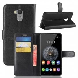 PU Leather Flip Open Back Full Body Case w/ Stand for Oukitel U15 Pro - Black