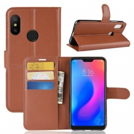 PU Leather Flip Open Back Full Body Case w/ Stand for Xiaomi Redmi 6 Pro - Brown