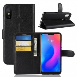 PU Leather Flip Open Back Full Body Case w/ Stand for Xiaomi Redmi 6 Pro - Black