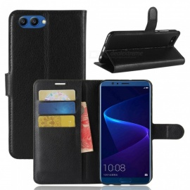 PU Leather Flip Open Full Body Case w/ Stand for Huawei Honor V10 - Black