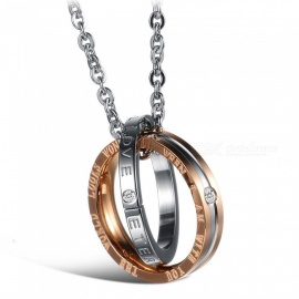 XSUNI Circle Pendant Studded Diamond Titanium Steel Couple Necklace - Rose Gold