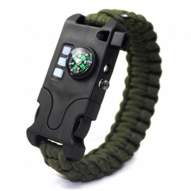 ZHAOYAO 7 in 1 Laser Infrared SOS Survival Bracelet LED Flashlight Compass Rechargeable Weave Bracelet - Army Green