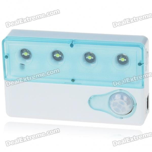 Auto PIR 3-Mode IR Sensor 4-LED White Light Lamp (2*AAA)