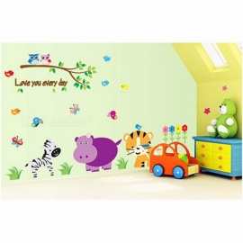 Animals World Wall Art Stickers For Kids Room Decoration Home Decals Diy Safari Art Posters Children Gift Multi