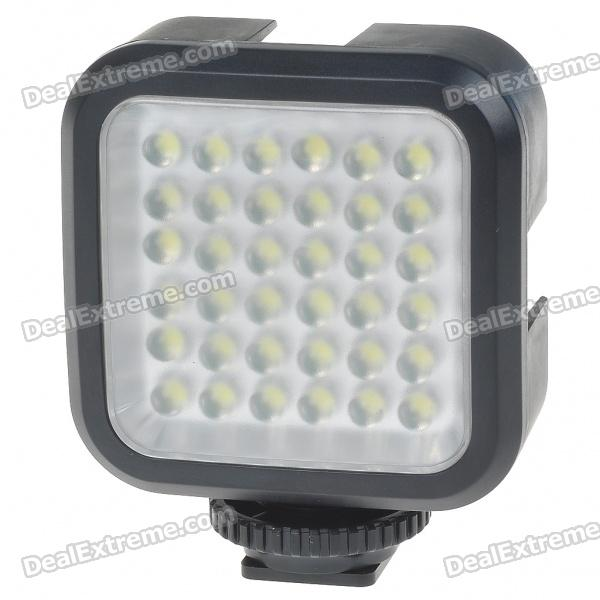 4W 6500K 36-LED Video Light for Camcorder with 750mAh Rechargeable Li-ion Battery Pack