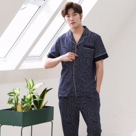2018 Summer Pajamas For Men Cotton Silk Short-sleeve Sleepwear Thin Trousers Pajamas Set Blue/L