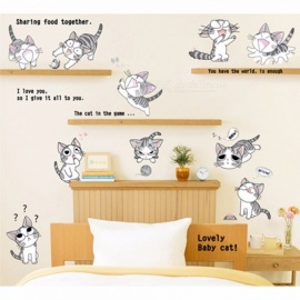 Hot Cat Wall Sticker For Bedroom Decal Decoration Home Children Wall Sticker Cat Vinyl Sticker Living Room Wallpaper Multi