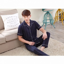 2018 Summer Pajamas For Men Cotton Silk Short-sleeve Turn-down Collar Striped Sleepwear Thin Trousers Pajamas Set Blue/XXL