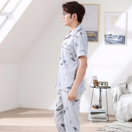 New Summer Pajamas For Men Cotton Silk Short-sleeve Sleepwear Thin Trousers Pajamas Set Sky Blue/L