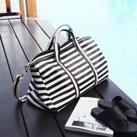 Women Travel Bags Women Striped Tote Shoulder Travel Bag Portable Handbags Weekend Bag Women Waterproof Duffle Bag Black