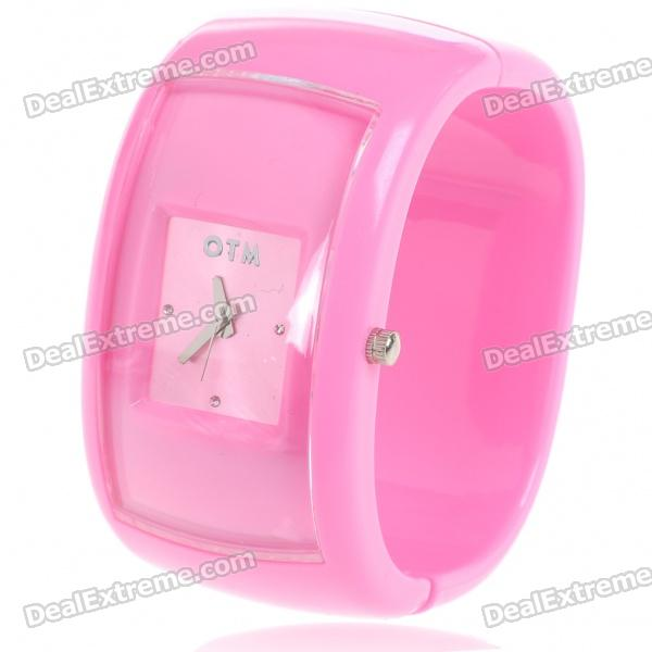 Stylish Plastic Bracelet Band Wrist Watch - Pink (1*377) stylish bracelet band quartz wrist watch golden silver 1 x 377