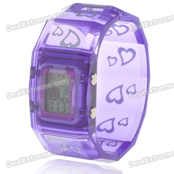 Colorful LED Fashion Bracelet Band Wrist Watch - Purple + Silver (1*377)