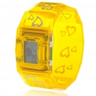 Colorful LED Fashion Bracelet Band Wrist Watch - Yellow + Silver (1*377)