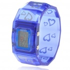 Colorful LED Fashion Bracelet Band Wrist Watch - Blue + Silver (1*377)