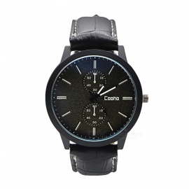 Cooho C01 Men's Watch Fashion Stylish PU Leather Strap Quartz Wristwatch - Black