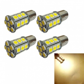 4PCS 1142 BA15D 24SMD 5050 12V Warm White Tail Turn Signal lamp White Rear Brake Lights DC12V 3W