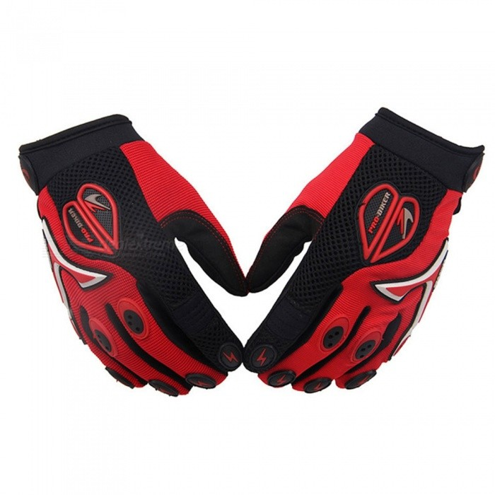 PRO-BIKER Skid-Proof Full Finger Motorcycle Racing Gloves - Red (Pair / L -Size)