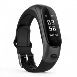 DMDG Smart Bracelet Earband Heart Rate Monitor Blood Pressure Fitness Tracker Pedometer Smart Wristband for Android IOS - Black