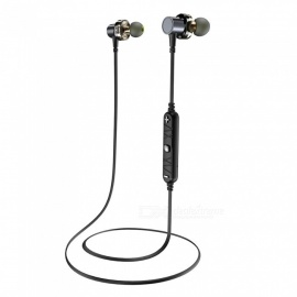 AWEI X660BL Sport Wireless Bluetooth Magnetic In-Ear Dual Driver Dual Speaker Earphone with Microphone - Gray