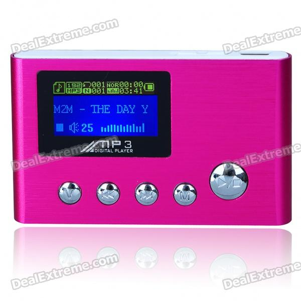 "USB Rechargeable 1.0"" LCD MP3 Player - Pink (2GB)"