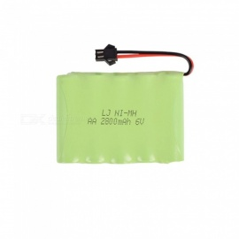 6V 2800mAh Li-ion SM-2P Rechargable Ni-MH AA*5 Model M Battery for RC Cars - Green