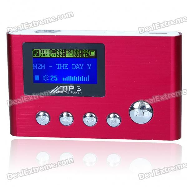 "USB Rechargeable 1.0"" LCD MP3 Player - Red (2GB)"