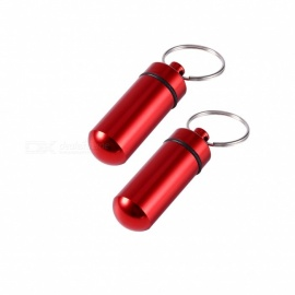 XSUNI Outdoor Pill Tablet Storage Case with Keyring - Red (2PCS)