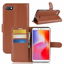 PU Leather Flip Open Back Full Body Case w/ Stand for Xiaomi Redmi 6A - Brown