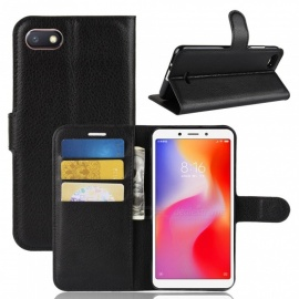 PU Leather Flip Open Back Full Body Case w/ Stand for Xiaomi Redmi 6A - Black