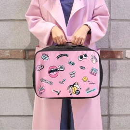 Nylon Cartoon Women Travel Tote Bags Women Cute Pink Travel Bag Pink