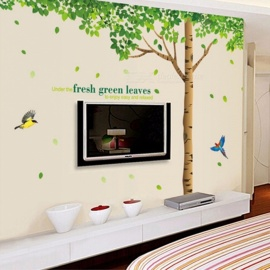 Green Leaves Tree Butterfly Wall Stickers PVC Art Decals Home Decor Bedroom Living Room Decals Mural Poster Multi