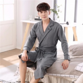 Men Autumn Knitted Cotton Robes Stripe Turn Down Collar Nightgown Long Sleeve Belt Outdoor Robes Dark Grey/M