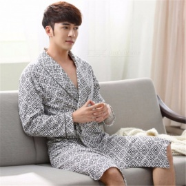 Men Autumn Cotton Robes Elder Simple Bath Robe With Belt Nightgown Gray/L