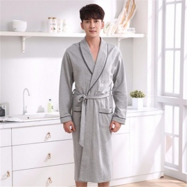 Autumn And Winter Long Sleeve Robes For Men Knitted Cotton Bath Robe Nightgown Gray/M