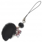 Stylish Crystal & Plush Ball Cell Phone Strap - Black