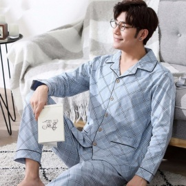 Men\'s Pajamas, Autumn Cotton Short Sleeve Top +Long Pants Turn Down Pajamas Sleepwear Set Sky Blue/L