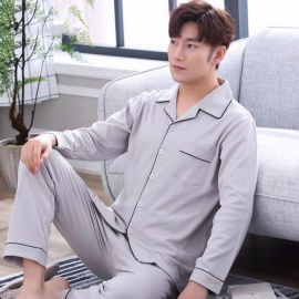 Men\'s Pajamas, Autumn And Winter Cotton Long Sleeve Top + Pants Turn Down Collar Sleepwear Set Gray/L