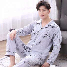 Men\'s Pajamas, Autumn And Winter Cotton Long Sleeve Top + Pants Turn Down Pajamas Middle-aged Sleepwear Set Gray/L