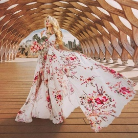 Fashionable Bohemia Floral Pattern Sexy V-Neck Hippie Summer Dresses Chic Beach Women Waisted Maxi Long Dress