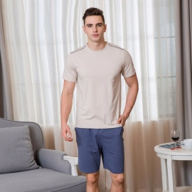 Men\'s Cotton Pajama Set, Round Neck Short-Sleeve T-Shirt And Short Pants, Summer 2-Piece Sleep Wear For Men Ivory/L