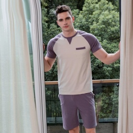 Men\'s Cotton Pajama Set, Round Neck Short-Sleeve T-Shirt And Shorts, Summer 2-Piece Sleep Wear For Men Lavender/L