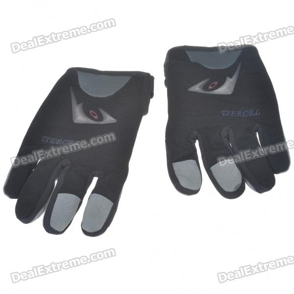 Full Finger Motocycle Racing Gloves - Black + Grey (XL Size/Pair)