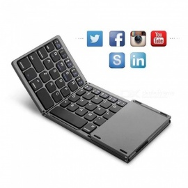 OJADE Portable Folding  Bluetooth Keyboard Wireless Rechargeable Foldable Touchpad Keypad for IOS Android Windows IPAD Tablet